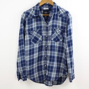 American Eagle Plaid Boyfriend Fit Shirt, Medium